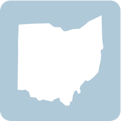 The shape of the state of Ohio, in white on a blue background